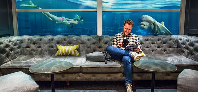 Mann in Lounge liest unseren Newsletter mit Aquarium im Hintergrund